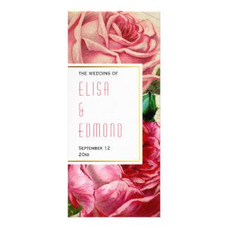 Vintage roses in pink floral wedding program