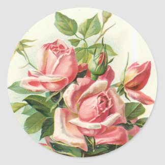 vintage roses in pink stickers