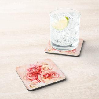 Vintage roses in the vase drink coaster