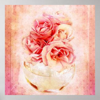 Vintage roses in the vase poster