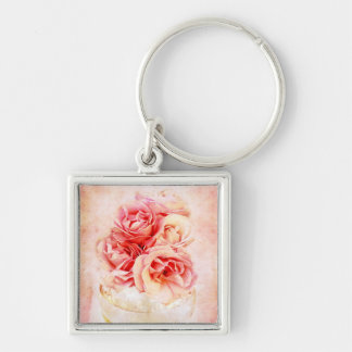 Vintage roses in the vase Silver-Colored square keychain