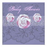 """Vintage roses lace neutral baby shower invites 5.25"""" square invitation card"""