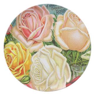 Vintage Roses Melamine Plate