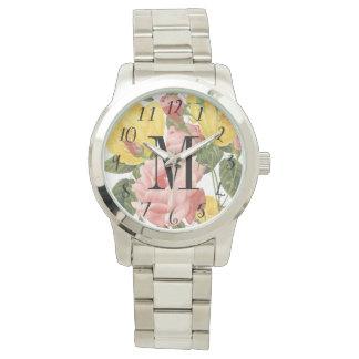 Vintage Roses Monogrammed Watch