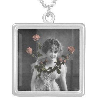 Vintage Roses Neclkace Square Pendant Necklace