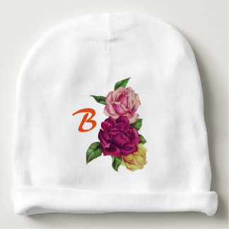 Vintage Roses Nosegay Personalized Baby Beanie