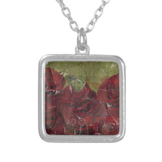 Vintage Roses Oil Grunge Square Pendant Necklace
