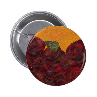 Vintage Roses Oil Painting Button