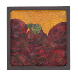 Vintage Roses Oil Painting Jewelry Box