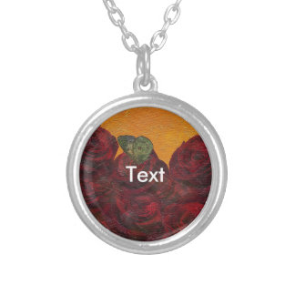 Vintage Roses Oil Painting Round Pendant Necklace