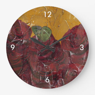 Vintage Roses Oil Pallete Texture Large Clock