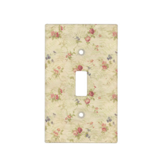 Vintage Roses old distressed fabric pattern Light Switch Cover