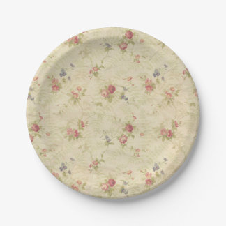 Vintage Roses old distressed fabric pattern Paper Plate