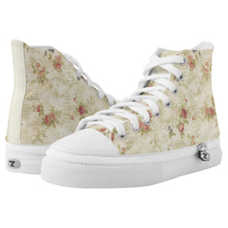 Vintage Roses old distressed fabric pattern Printed Shoes