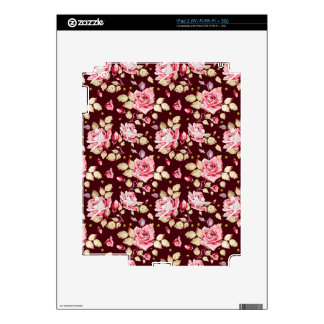 Vintage Roses on a Marsala Background iPad 2 Decals