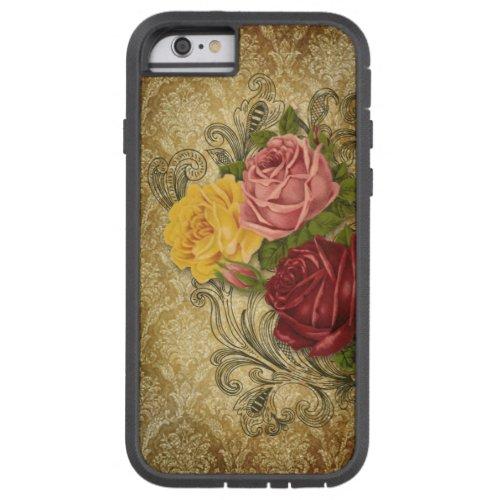 Vintage Roses on Gold Damask Phone Case