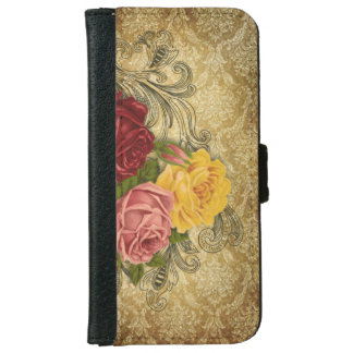 Vintage Roses on Gold Damask Wallet Phone Case For iPhone 6/6s