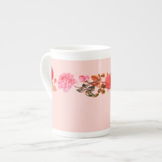 Vintage Roses on Pink Bone China Mug
