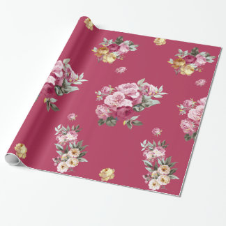 Vintage Roses on Pink Wrapping Paper