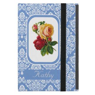 Vintage Roses On Royal Damask Pattern Monogram Cover For iPad Mini