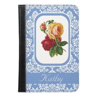 Vintage Roses On Royal Damask Pattern Monogram iPad Mini Case