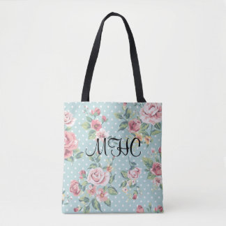 Vintage Roses on Turquoise Dots Floral Tote Bag