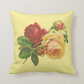 Vintage Roses on Yellow Pillow