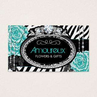 Vintage Roses on Zebra Business Cards