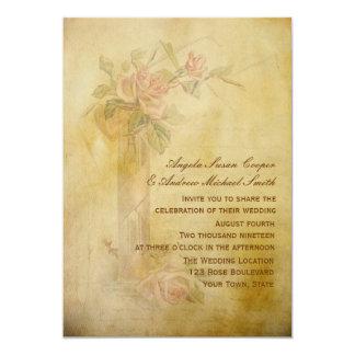 Vintage Roses Parchment Wedding 5x7 Paper Invitation Card