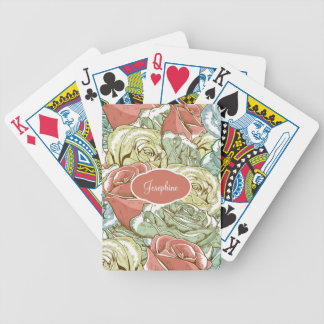 Vintage Roses Pattern Bicycle Playing Cards