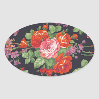 Vintage roses pattern oval sticker