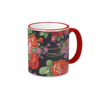 Vintage roses pattern ringer mug