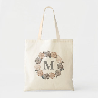 Vintage Roses Personalized Monogram Canvas Bag