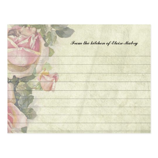 Vintage Roses Personalized Recipe Cards