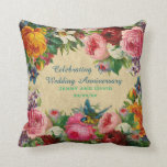 """Vintage Roses Photo Wedding Anniversary Customized Throw Pillow<br><div class=""""desc"""">This pretty vintage roses and other flowers pillow is perfect for any wedding anniversary or vow renewal,  simply edit the text to suit your needs. This pillow has a lovely cozy vibe and I'm sure your parents,  friends or other family members will treasure this personalized keepsake anniverary cushion.</div>"""