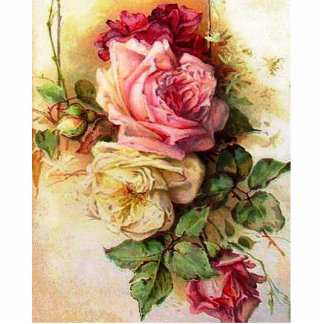 Vintage Roses Standing Photo Sculpture