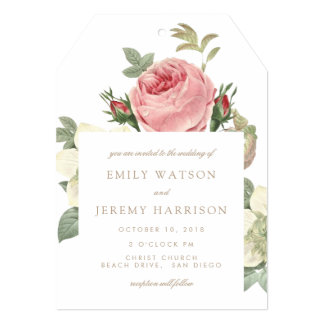 Vintage Roses Pink and White Wedding Invitation