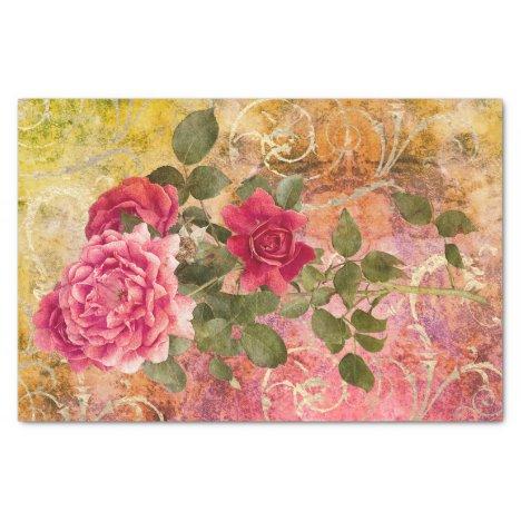 Vintage Roses Pink Gold Damask Floral Pattern Tissue Paper