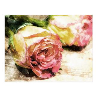 Vintage Roses Postcard in watercolor