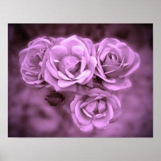 Vintage Roses Purple Print