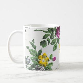 Vintage Roses purple yellow pattern Coffee Mug