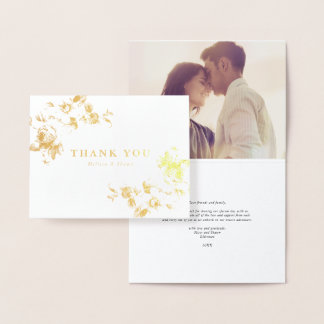 Vintage roses real foil thank you note foil card