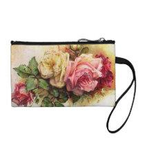 Vintage Roses Rose Bouquet Retro Style Bagettes Coin Purse