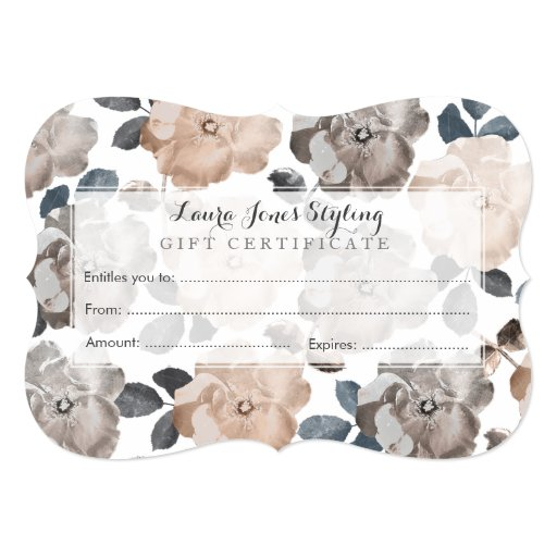 vintage roses salon gift certificate template card zazzle