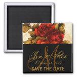 Vintage Roses Save the Date Magnet Fridge Magnets