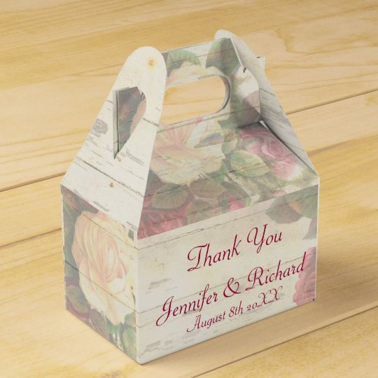 Vintage roses shabby chic custom wedding favor box Zazzle