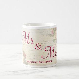 Vintage roses shabby chic custom wedding memento coffee mugs