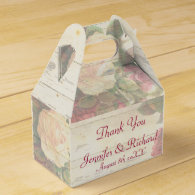 Vintage roses shabby chic custom wedding party favor boxes
