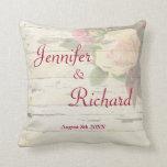 Vintage roses shabby chic wedding custom memento throw pillows