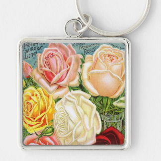 Vintage Roses Silver-Colored Square Keychain